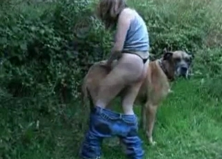 Big-ass babe fucks with her trained labrador