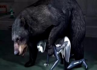 Burly bear fucks a horny 3D bitch